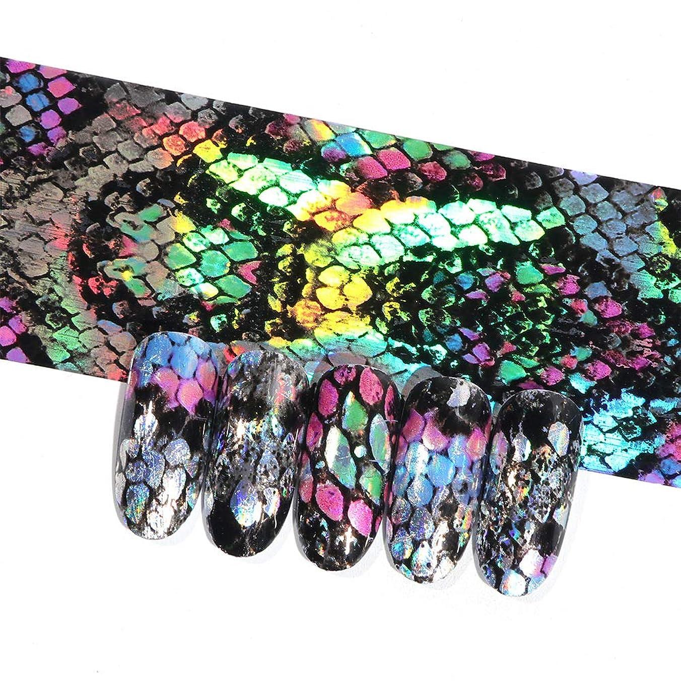 発動機イブストラトフォードオンエイボン16ピースホログラフィック蛇行ネイル転写箔ステッカーヘビレーザーミックス色粘着ネイルアートフルラップ装飾