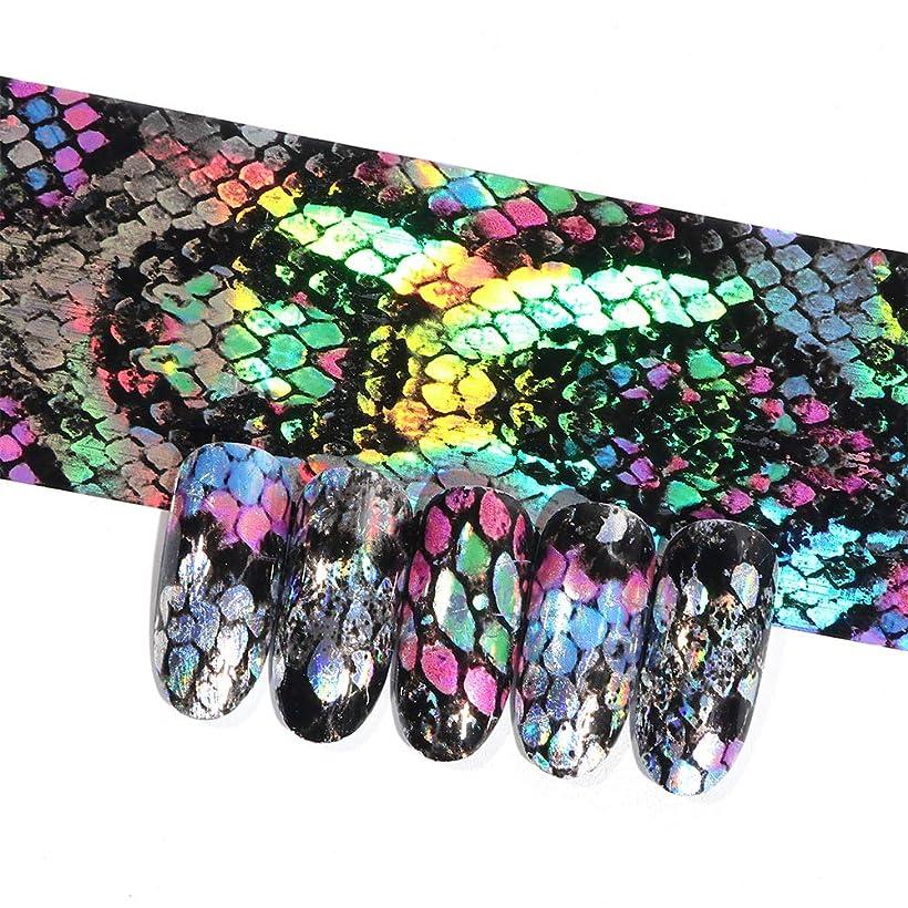 人気のアスリートうるさい16ピースホログラフィック蛇行ネイル転写箔ステッカーヘビレーザーミックス色粘着ネイルアートフルラップ装飾