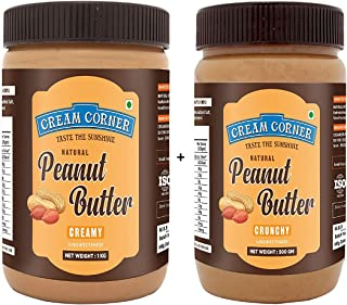 CREAM CORNER Peanut Butter Combo Creamy + Crunchy Spread All Natural High Protein Nut Butter Healthy Snack (1Kg+500g)
