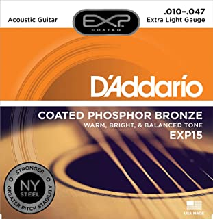 D'Addario EXP15 Coated Phosphor Bronze Acoustic Guitar Strings, Light, 10-47 – Offers a Warm, Bright and Well-Balanced Acoustic Tone and 4x Longer Life - With NY Steel for Strength and Pitch Stability