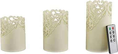 Lavish Home LED Candles with Remote Control-Set of 3 Lace Detailed Vanilla Scented Wax, Realistic Flameless Pillar Lights-Amb