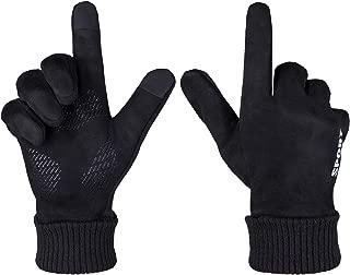 Mens Winter Gloves Touch Screen Running Gloves Non Slip Texting Warm Fleece Lined