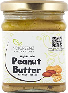 INDIGREENZ Peanut Butter All Natural Creamy, 200 gm (Vegan, Non GMO, High Protein, Keto) (Peanut Butter) (Pack of 1)