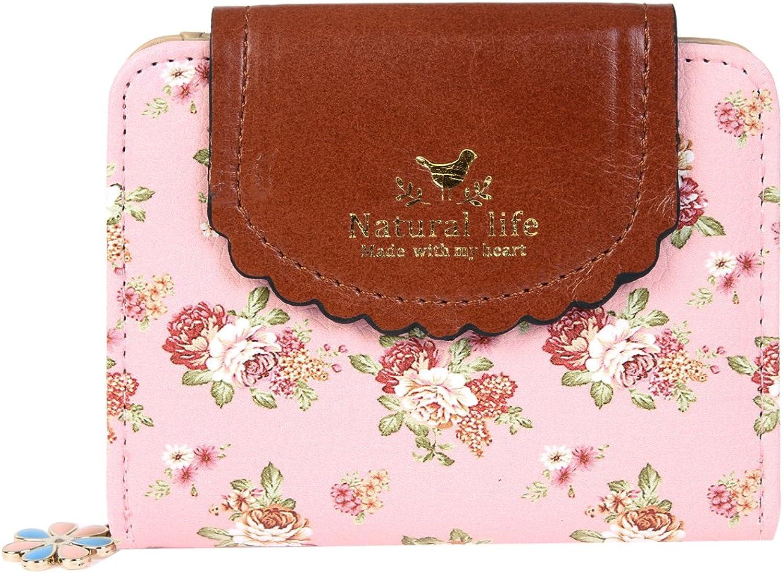 Damara Women PU Zipper Closure Flower Printed Flap Wallet,Pink