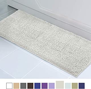 ITSOFT Non Slip Shaggy Chenille Soft Microfibers Runner Large Bath Mat for Bathroom Rug Water Absorbent Carpet, Machine Washable, 21 x 59 Inches Light Gray