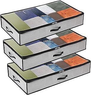 comprar comparacion GoMaihe Bolsa de Almacenamiento 3 Pcs, Cajas Almacenaje Ropa 100x50x17cm Debajo de la Cama no Tejido de Gran Capacidad, Or...