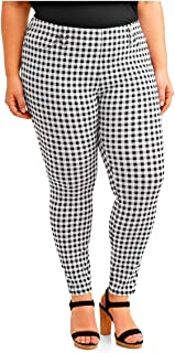 Black & White Gingham Plaid Plus Size Generous Fit Full Length Jegging