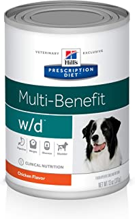 Hill's Prescription Diet w/d Multi-Benefit Digestive/Weight/Glucose/Urinary Management with Chicken Canned Dog Food, 13 oz...