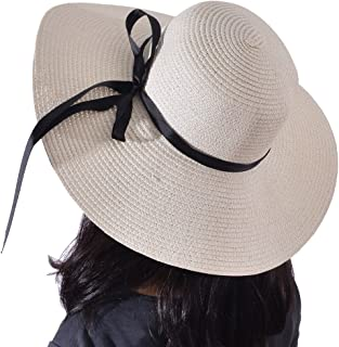 df6ca282 Yeeasy Womens Wide Brim Sun Hat Floppy Foldable Bowknot Straw Summer Beach  Hat