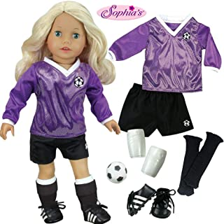 Sophia's Doll Clothes for 18 Inch Doll Soccer Outfit, Ball, Shin Guards, Black Socks & Cleats, Complete 18 Inch Doll Sports Set, Fits American Girl Dolls