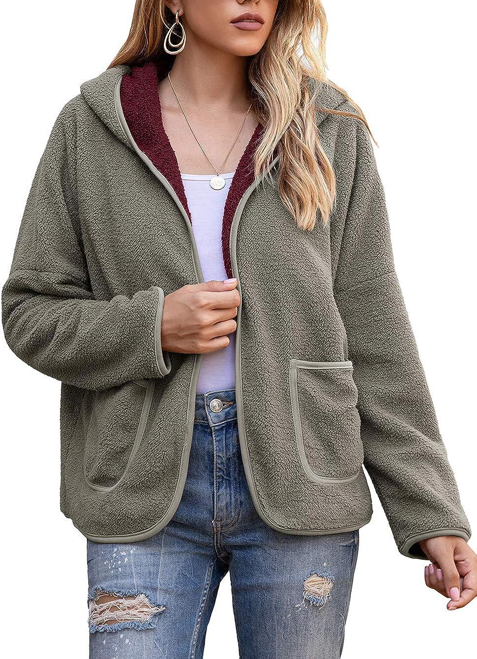 Bunanphy Womens Fleece Hoodies Coat Plush Jacket with Pockets Womens Winter Coats