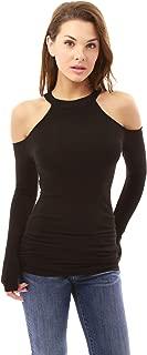 Women Halter Cold Shoulder Keyhole Back Blouse