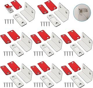 Tongboke Sterke magneten voor laden, 8 stuks L-vormige deurmagneten zelfklevende magneetsluiting met schroeven, magnetisch...