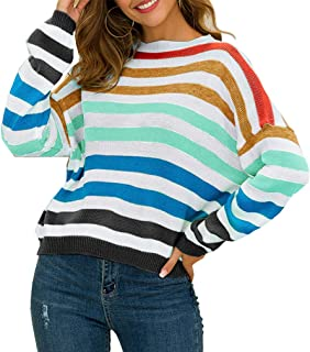 MOLFROA Women's Crew Neck Color Block Striped Loose Oversized Knit Sweaters