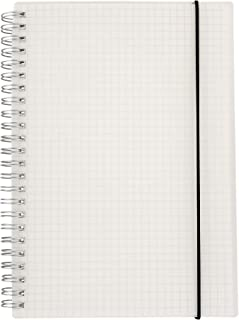 HULYTRAAT Hardcover Graph Ruled Spiral Notebook, 5.8 x 8.38 Inches A5, Transparent, 160-Page 80-Sheet Square Grid Journal (AWPPS1)