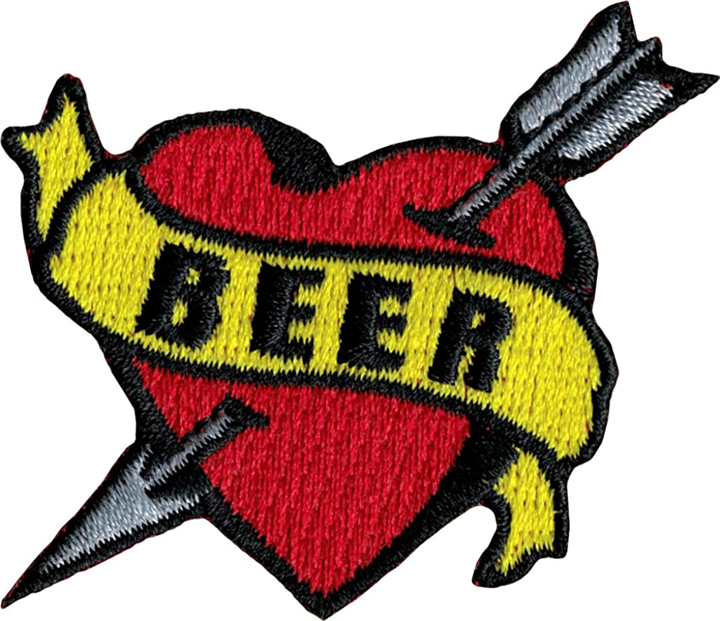 Tattoo Art Heart Arrow Name Embroidered Iron On Applique Patch - Beer