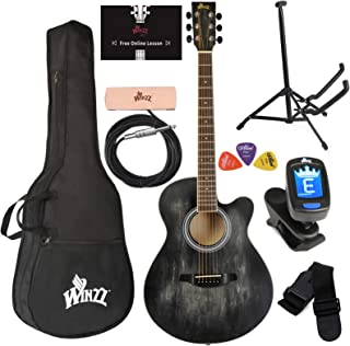 WINZZ 40 Inches Cutaway Acoustic Guitar Beginner Starter Bundle with Online Lessons,..