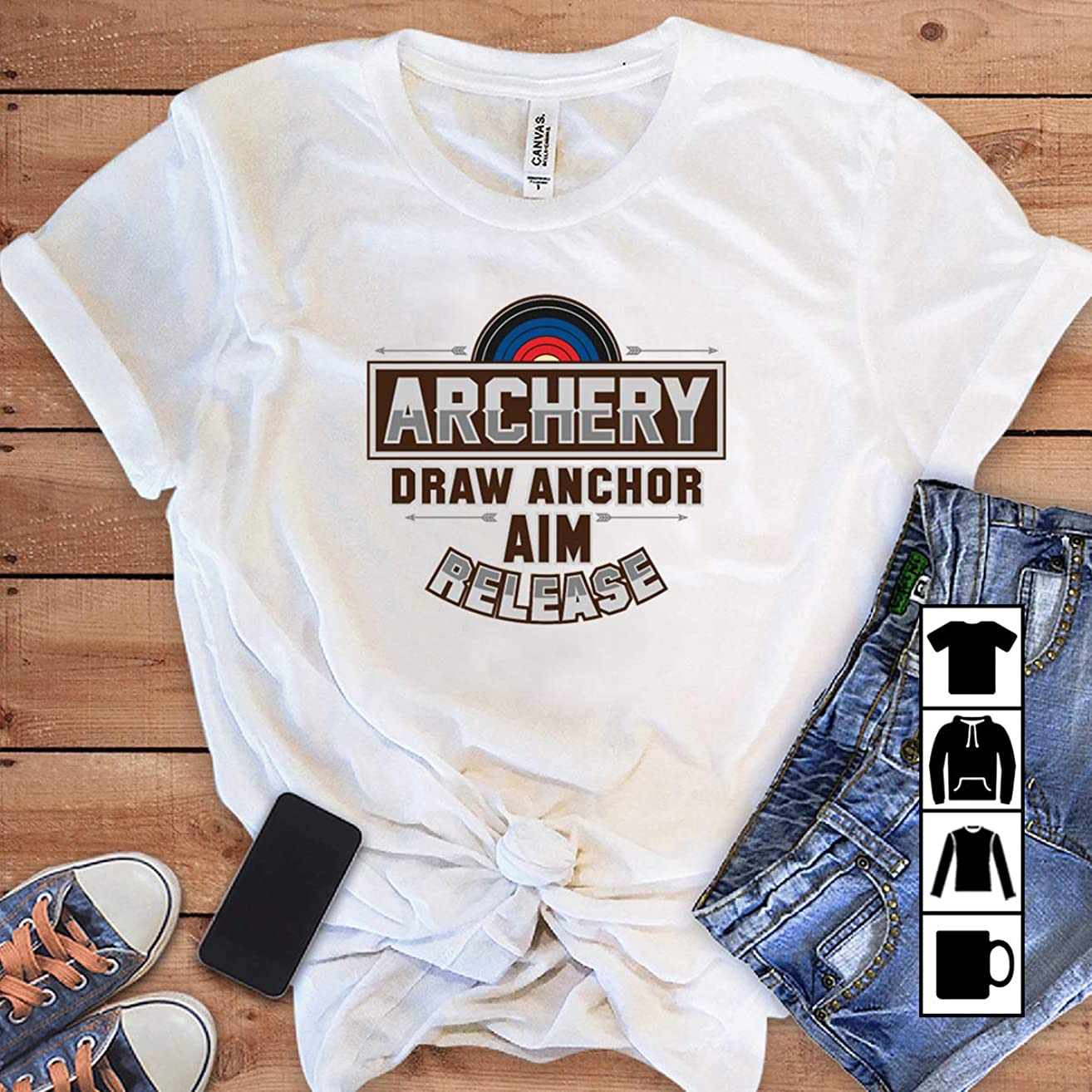 Bowman Archer Archery Draw Anchor Aim Release T Shirt Long Sleeve Sweatshirt Hoodie Youth