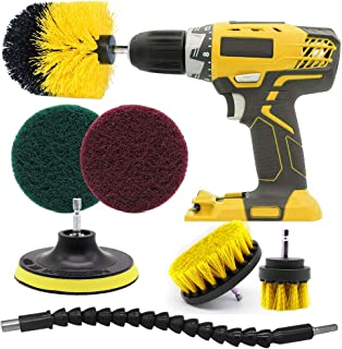 Drill Brush Power Drill Attachments Set Tile Cleaning Brush with Flexible Long Reach Attachment scrubbing brush for Kitchen, Bathroom Surfaces, Grout,Floor, Tile, Automobile