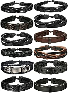 FIBO STEEL 10-12 Pcs Braided Leather Bracelets for Men...