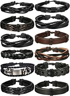 10-12 Pcs Braided Leather Bracelets for Men Women Cuff Bracelet,Adjustable