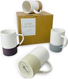 مجموعه لیوان قهوه Mora Ceramics 12oz 4oz - لیوان چای سرامیکی دسته دار - گاوصندوق مایکروویو و ماشین ظرفشویی ، مناسب برای دوستداران فنجان یا لیوان - لعاب مات روستیک ، لیوان های طراحی مدرن - رنگ های متنوع