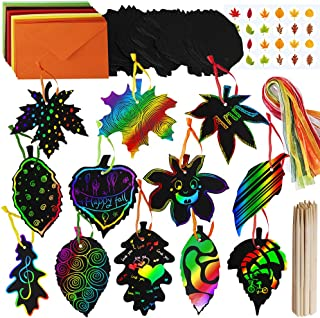 Supla 48 Sets Magic Color Scratch Fall Leaves Scratch Ornaments Fall Craft Supplies Scratch Art Paper in Assorted Maple Oak Leaves Cutouts Hang Tags for Kids Fall Autumn Halloween Thanksgiving Craft