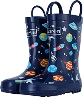 CasaMiel Toddler Rain Boots for Kids Unisex Kids Rain Boots for Boys and Girls, Handmade Natural Rubber Rain Boots for Children Botas para Niños