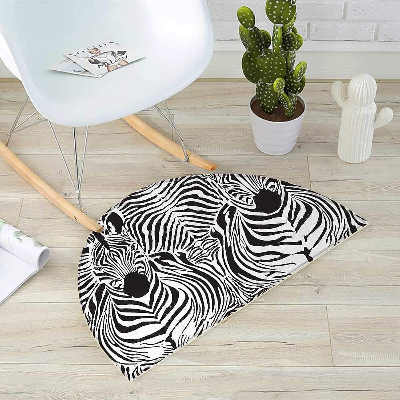 Zebra Print Semicircular CushionIllustration Pattern Zebras Skins Background Blended Over Zebra Body Heads Entry Door Mat H 51.1  xD 76.7  Black White