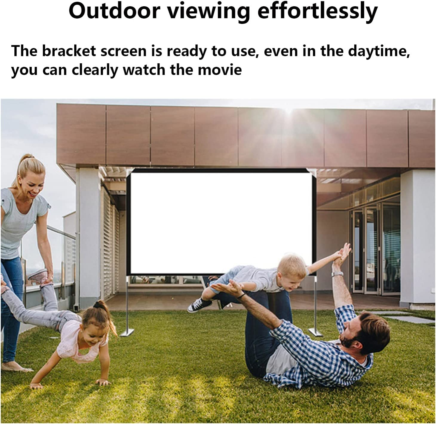 Qgg with Stand Foldable Portable Movie Screen, Double Sided Projection Screen Indoor Outdoor Projector Movies Screen for Home Theater Outdoor Projector and Screen Packages