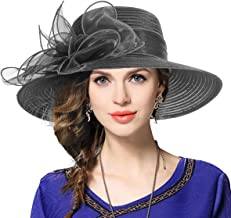 Kentucky Derby Church Dress Hat Wide Brim Leaf Flower Bridal Shower Hat
