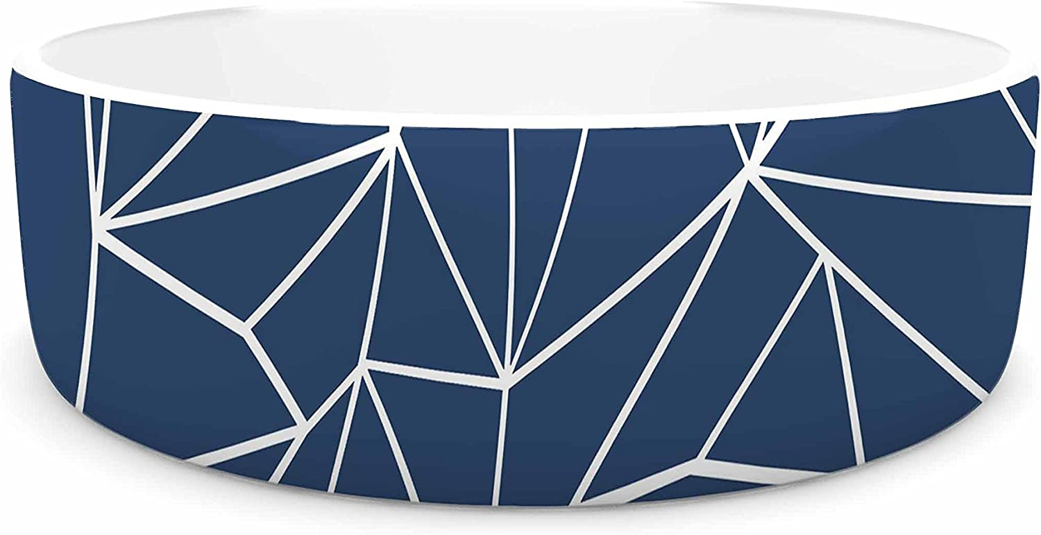KESS InHouse Project M Abstraction Outline Navy  bluee Abstract Pet Bowl, 4.75