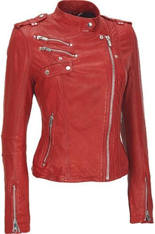 New Women Motorcycle Lambskin Leather Jacket Coat Size XS S M L XL XW536