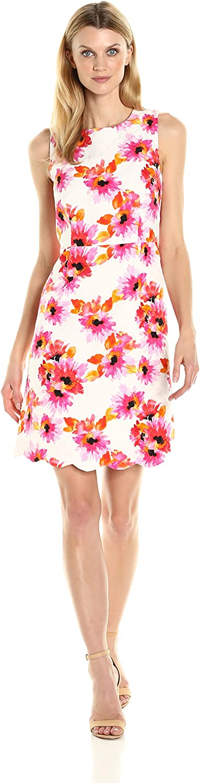 Kasper Womens Printed Jacquard Dress W Scalloped Hem Dress
