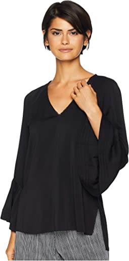 Long Sleeve V-Neck Ruched Top
