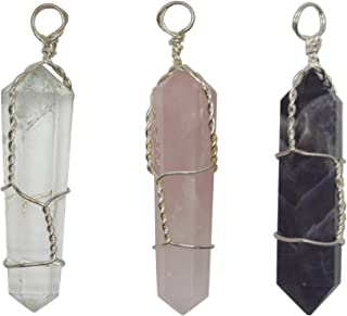 Natural Amethyst + Natural Rose Quartz + Natural Clear Quartz Double Terminated Wire Wrapped Crystal Point Pendant