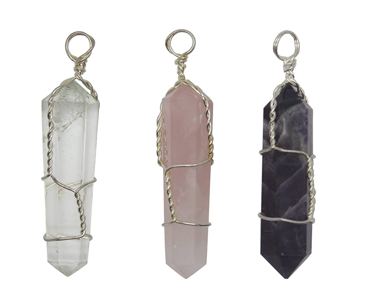 Crystalo - Natural Amethyst + Natural Rose Quartz + Natural Clear Quartz Double Terminated Wire Wrapped Crystal Point Pendant uigiqplhqyien795