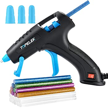 TOPELEK Hot Glue Gun, 30W Glue Gun Kit with Longer Handle, 3 Finger Protectors, 20pcs Glue Sticks, Melting Gun for Small DIY Projects, Arts & Crafts, Home Quick Repairs, Black
