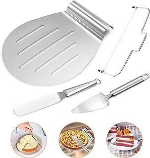 Gifort 4 en 1 Espátula para tarta Set,on paleta y cortador para tartas, y paleta triangular de acero inoxidable - Lira para tartas,Set de espatulas para reposteria.