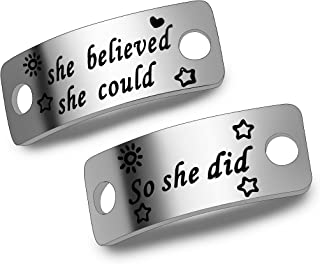 She Believed She Could So She Did Shoe Lace Tag Sports Jewelry Inspirational Gift Trainer Tags Gift for Runner (She Believed She Could So She Did)