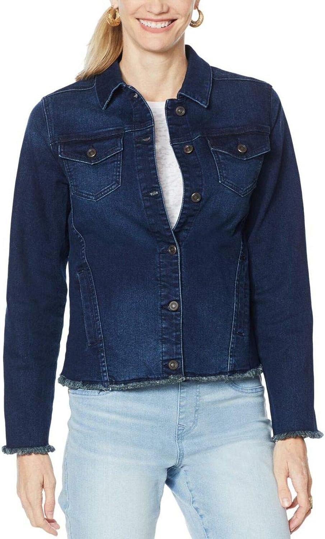 DG2 by Diane Gilman Women's Plus Size Frayed Denim Jacket With Pockets