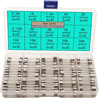 Ted Lele 15 Values150pcs Quick Blow Glass Tube Fuse Assorted Kit 6x30mm 250V 0.5A, 1A, 1.5A, 2A, 3A, 3.15A, 5A, 6A, 7A, 8A, 10A, 15A, 20A, 25A, 30A, packag in a Clear Plastic Box