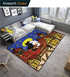 YucouHome Cat Novelty Girls Bedroom Rug, Two Cats Sitting on Roof in Old Town and Looking at Starry Sky Night Funk Love Valentines, Fashionable High Class Living Bedroom Rugs(3'x 8') Multi