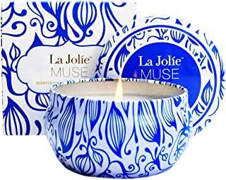 LA JOLIE MUSE Citronella Candles Outdoor - Scented Natural Soy Wax Candle Travel Tin 6.5 oz, Indoor