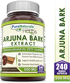 Pure Naturals Arjuna Bark Extract 500 Mg, Veggie Capsules - Standardized to 25% Tannins -Promotes Heart Health -Supports Healthy Lipid Levels -Antioxidant Properties (240 Count)