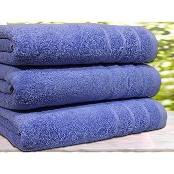 Casabella - Juego de 3 toallas de baño, algodón egipcio de 550 g/m², tamaño extragrande, algodón, azul, 3 Bath Towel: Amazon.es: Hogar