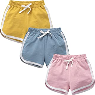 qtGLB Girls Shorts 3-Pack 100% Cotton Active Athletic Running Sleeping for Toddler Kids Big Girl's