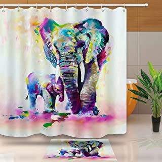 NEWTOO Animal Elephant Shower Curtain, Watercolor Elephant and Baby Decor Bathroom Curtain, with Hooks, 72 X 72 Inches, DSNT014-72