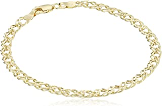 14k Yellow Gold Diamond-Cut Curb Link Bracelet, 7.5