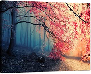 Sakura Forest Picture for Living Room Beautiful Pink Cherry Trees Poster for Bedroom Wall Art Dark and Light For Education Artwork Gift for Friends Framed Stretched Ready to Hang(24''W x 18''H)